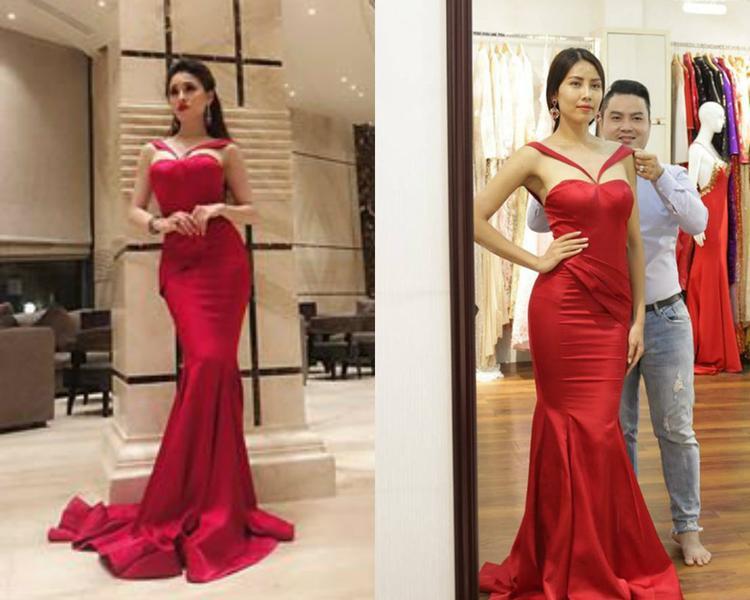 Cũng nằm trong hoạt động cuộc thi, cô diện lại thiết kế đuôi cá đỏ rực của Nguyễn Thị Loan.