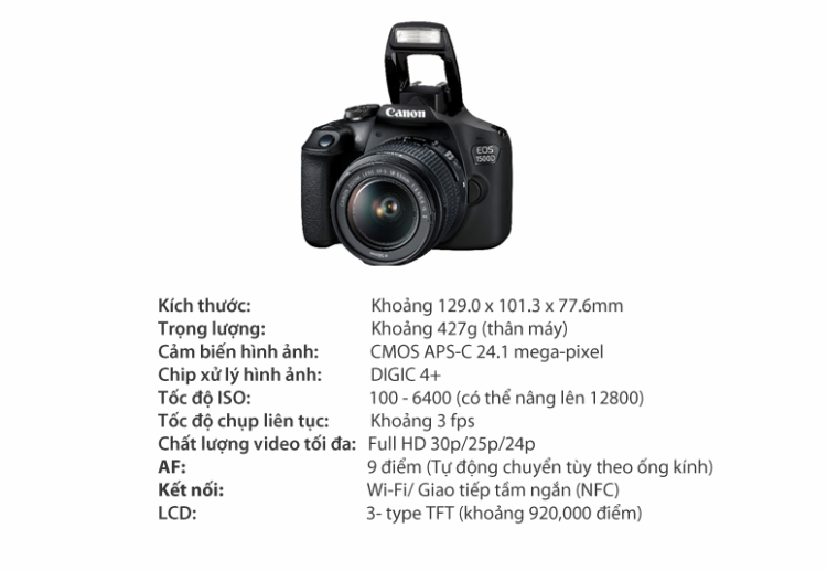 Thông số cơ bản của EOS 1500D.