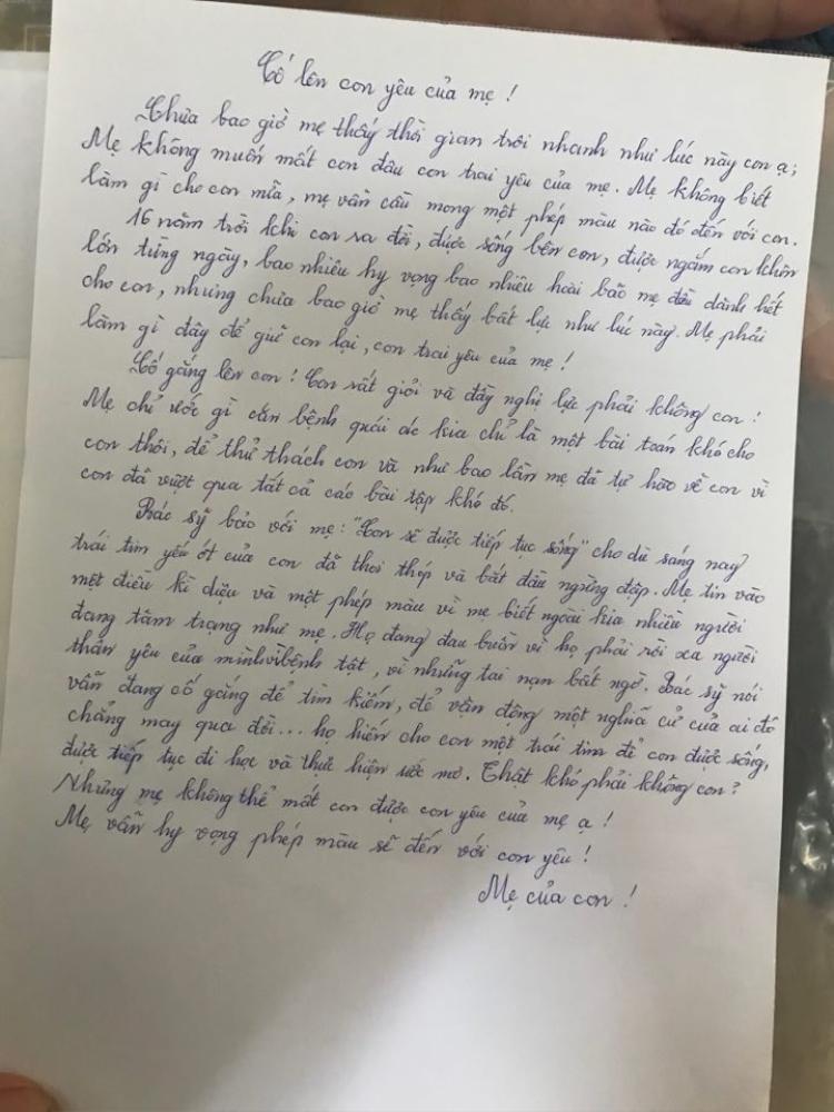 Bức thư đẫm nước mắt chị Vân Anh viết cho con trai mình.
