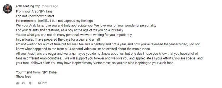 Fan Ả Rập viết tâm thư cho Sơn Tùng M-TP: Chờ đợi MV khiến mình cảm thấy như cả thế kỷ