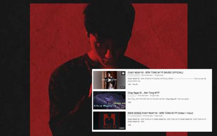 Bài hát chưa ra những trên YouTube đã xuất hiện không ít các video ăn theo Chạy ngay đi của Sơn Tùng, không ít trong số này chỉ nhằm giật tít, câu view bởi nội dung video không hề liên quan.