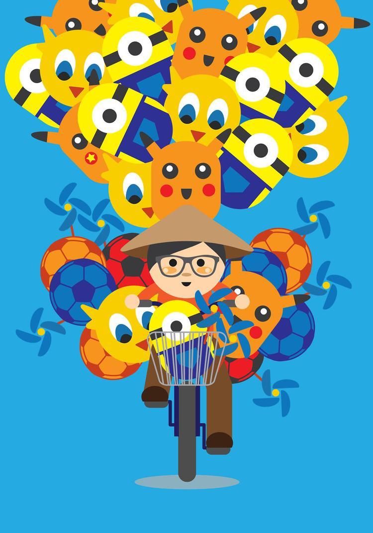 Những quả bóng bay đầy màu sắc, hình dáng buộc sau xe đạp qua góc nhìn lý thú của người nước ngoài.