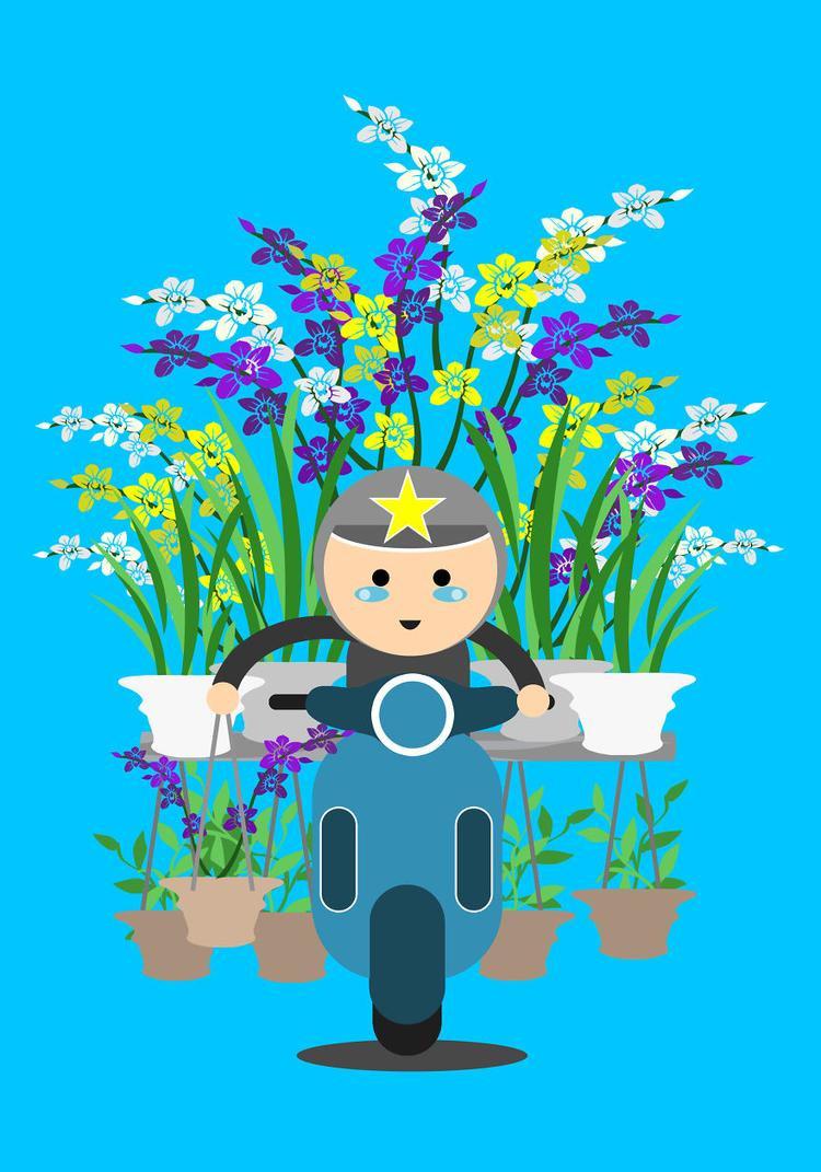 """Nào chậu hoa, nào cây cảnh… tất cả đều được một chiếc xe máy """"cân tất""""."""
