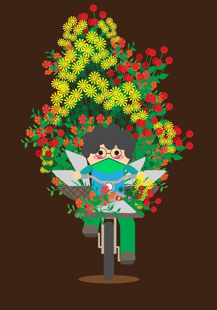 """Xe chở """"cả vườn hoa"""" phía sau."""