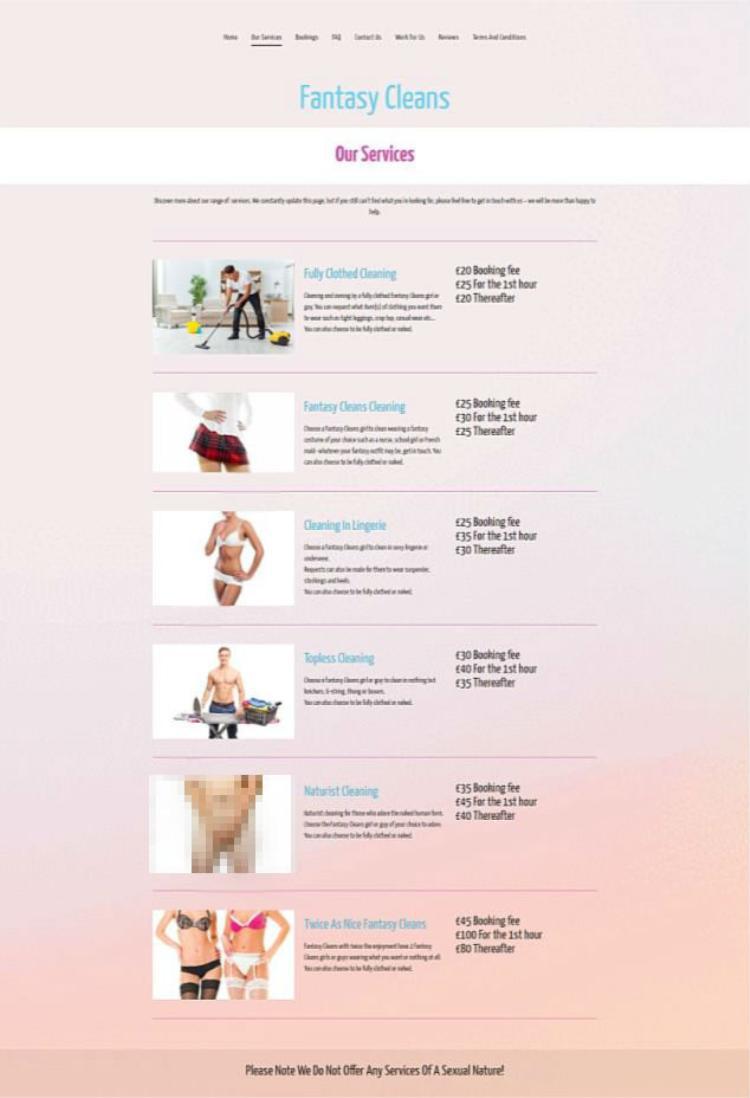 Fantasy Cleans cung cấp nhiều loại hình dọn dẹp khác nhau chứ không chỉ có mỗi khỏa thân.