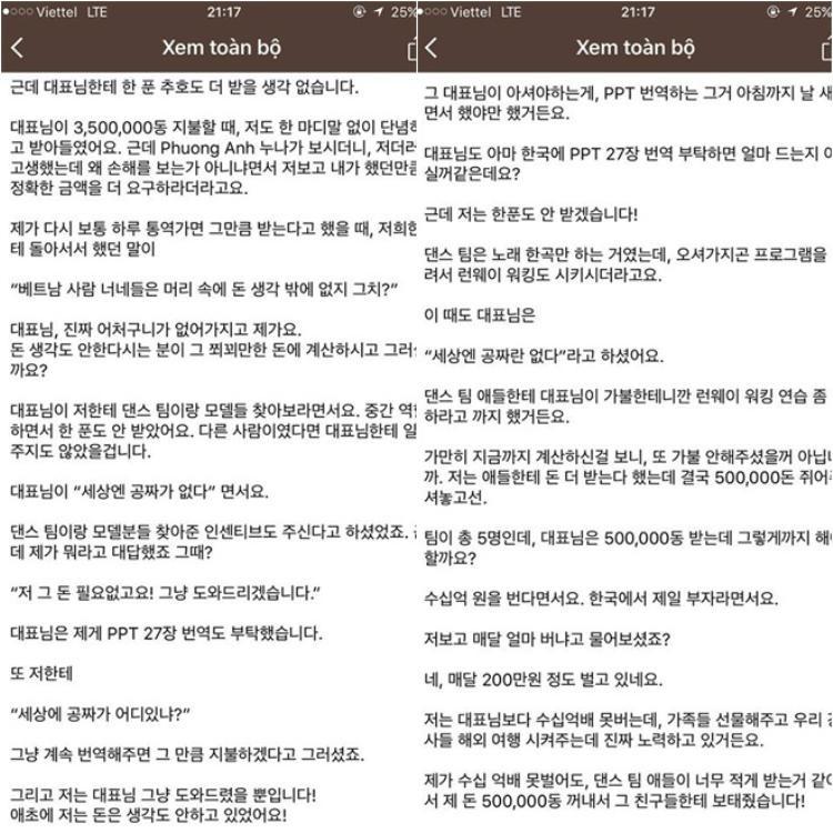 """Bức """"tâm thư"""" anh Hà gửi đến khách hàng người Hàn."""