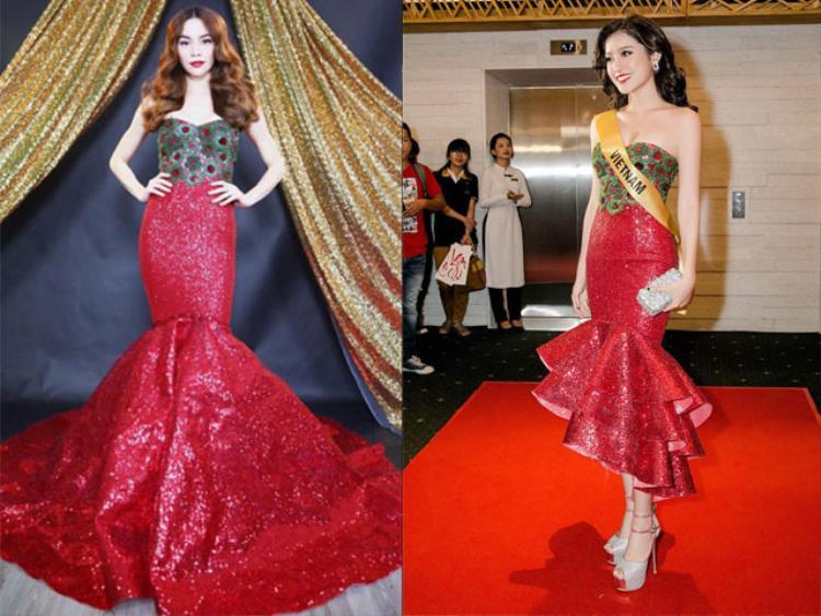 """Như thiết kế váy đuôi cá màu đỏ của Lý Quí Khánh được nhiều người xem như bản sao """"chị, em"""" với trang phục của Hồ Ngọc Hà. Không ít khán giả cho rằng, NTK đã sử dụng lại chính ý tưởng cũ, chỉ chỉnh sửa đôi chút để tạo nên trang phục cho Huyền My."""