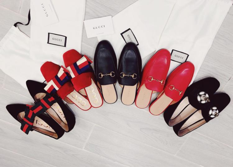 Đánh dấu sinh nhật 30 tuổi, Bảo Thy vừa tự thưởng cho mình một loạt món đồ hàng hiệu. Người đẹp sắm một lúc 5 đôi giày của thương hiệu Gucci với những mẫu đang được ưa chuộng nhất hiện nay. Giá của mỗi đôi Gucci này từ 16-23 triệu đồng.