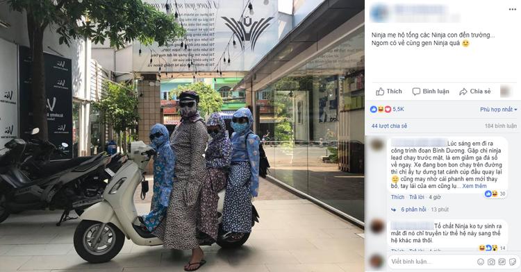 Ninja mẹ hộ tống các ninja con đến trường.