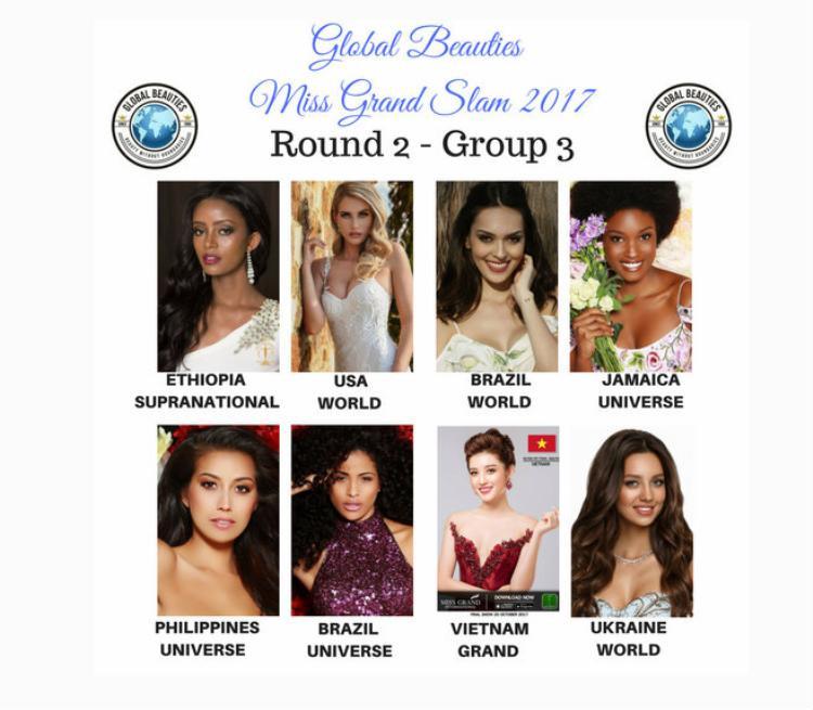 Trong khi đóÁ hậu Huyền My (top 10 Miss Grand International - Hoa hậu Hòa bình Quốc tế 2017) được xếp vào nhóm thứ 3. Cô sẽ cạnh tranh cùng 7 người đẹp khác trong nhóm này để giành vé vào top 32.