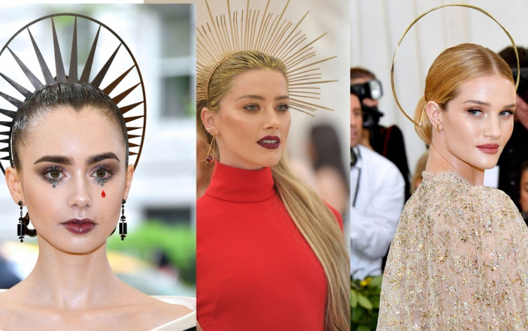Blake Lively, Lily Collins và Amber Heard 'đụng hàng' khi sử dụng phụ kiện tóc tạo hình vầng hào quang.