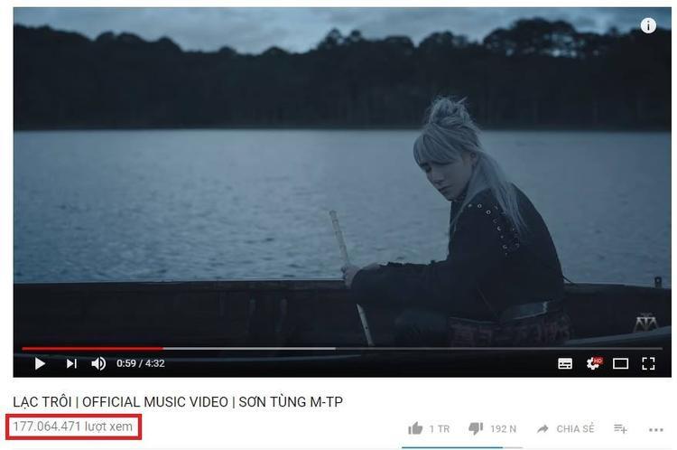Lạc trôi là MV nhanh chóng đạt thành tích 100 triệu lượt xem chỉ sau 61 ngày lên sóng. Tính đến thời điểm hiện tại, con số đã vượt lên 177 triệu.