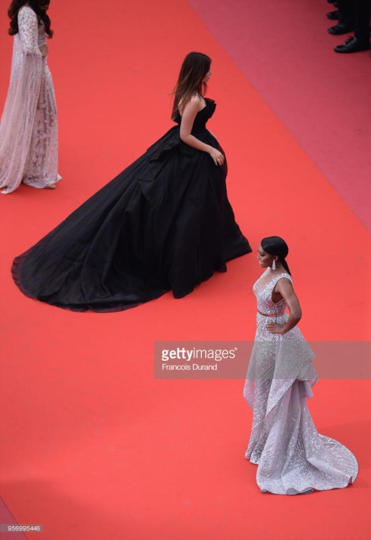Thảm đỏ Cannes 2018 ngày thứ 3: Bạn gái Black Panther diện váy xuyên thấu, Mallika Sherawat hở ngực lộ liễu