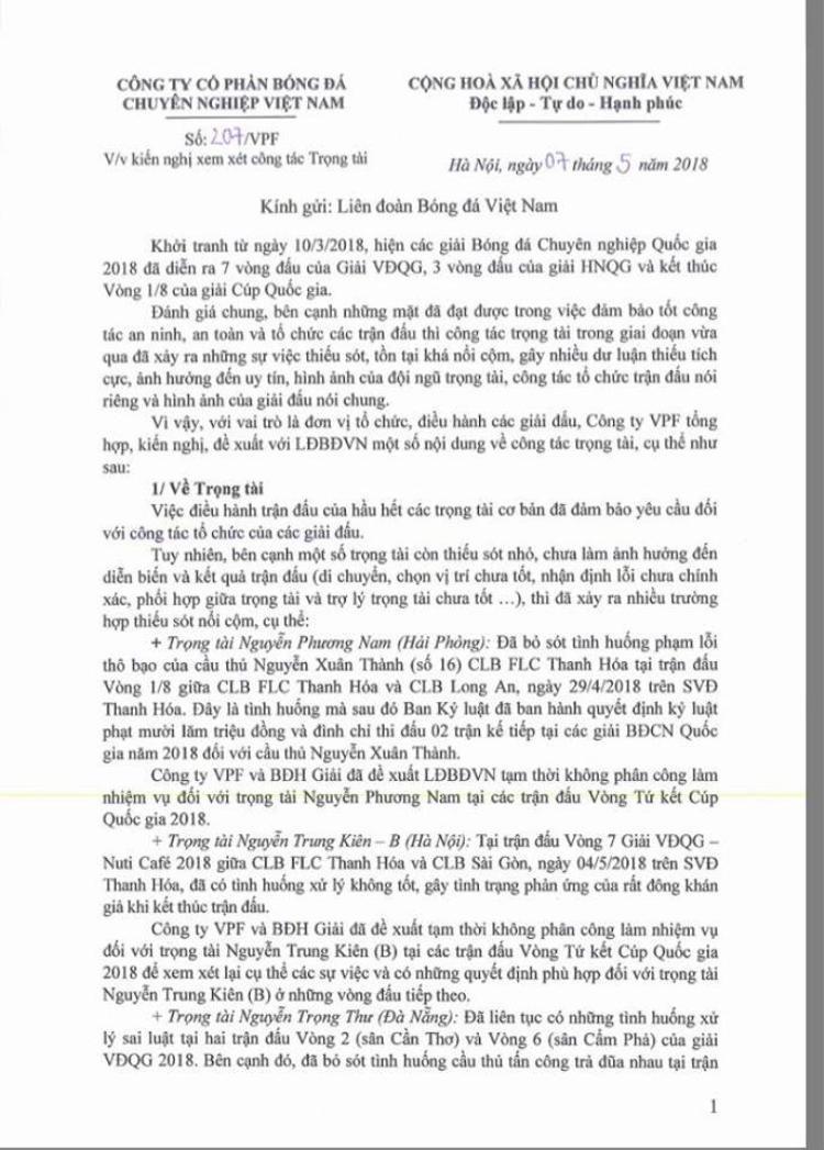 Văn bản của VPF gửi VFF để loại ông Thư và ông Kiên.
