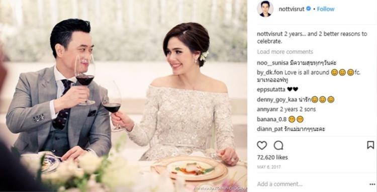 Instagram của Nott ngập tràn hình ảnh của Chompoo Araya.