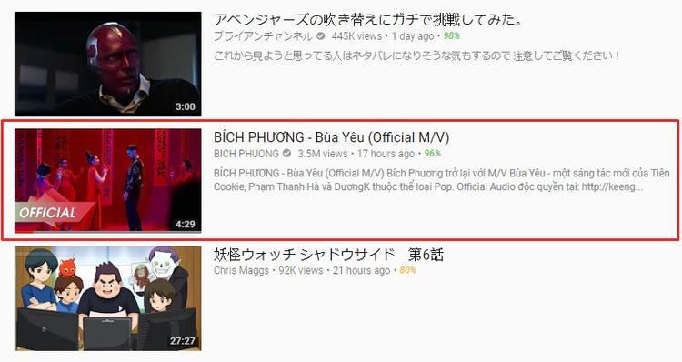 Không chỉ Sơn Tùng, MV Bùa yêu của Bích Phương cũng chốt hạ thứ 27 tại Youtube Nhật