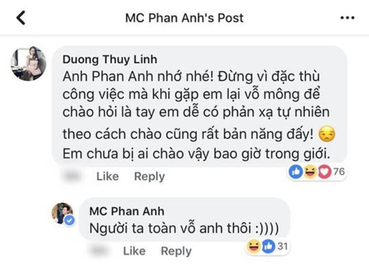 MC Phan Anh giễu cợt câu nói của Phạm Anh Khoa khi nhận được bình luận từ bạn bè.