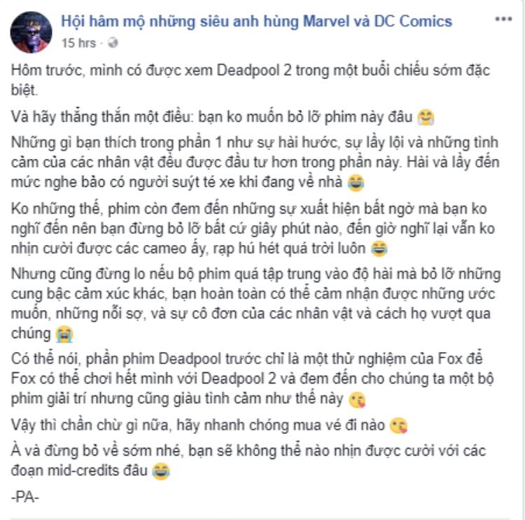 Những khán giả đầu tiên của Việt Nam đã nói gì về Deadpool 2 sau khi xem?