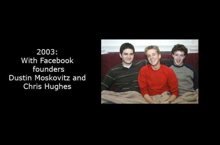 Tấm hình này được chụp vào năm 2003 cùng Dustin Moskovitz và Chris Hughes, hai người đồng sáng lập khác của Facebook.