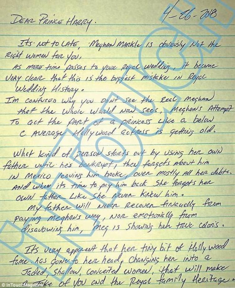 Bức thư do anh trai Thomas gửi Hoàng tử Harry.
