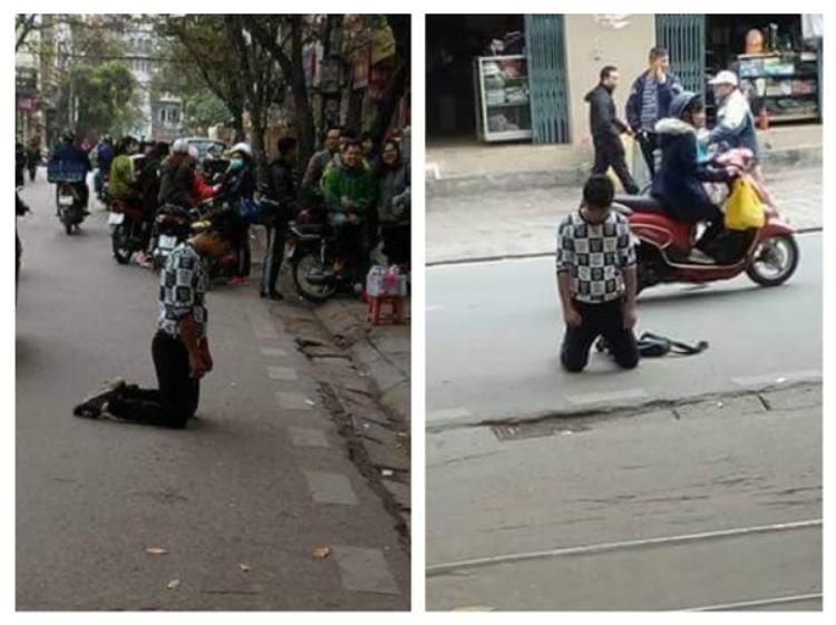 Cộng đồng mạng từng xôn xao vì bức ảnh một nam thanh niên quỳ gối, mặt cúi xuống đất trước cổng Cao đẳng Y tế Hà Nội