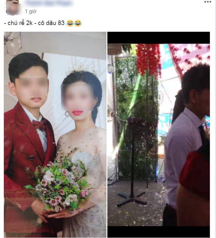 Hình ảnh trong đám cưới của cặp đôi được cho là chú rể sinh năm 2000, cô dâu sinh năm 1983. Ảnh chụp màn hình.