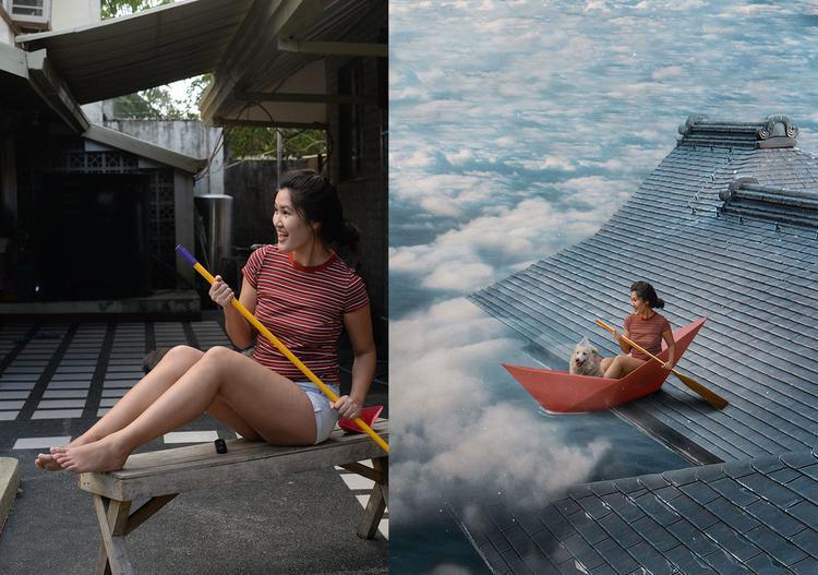 Chèo thuyền giữa bầu trời.
