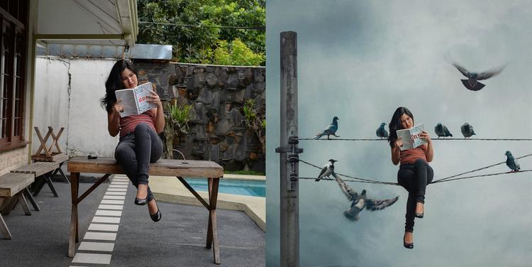 Chẳng có chim chóc hay dây điện nào ở sân sau nhà Katrina Yu nhưng cô đã tạo ra chúng bằng Photoshop.