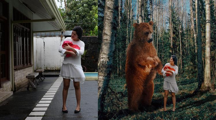 Sân sau biến thành. Một khu rừng ấn tượng cùng một chú gấu thân thiện.