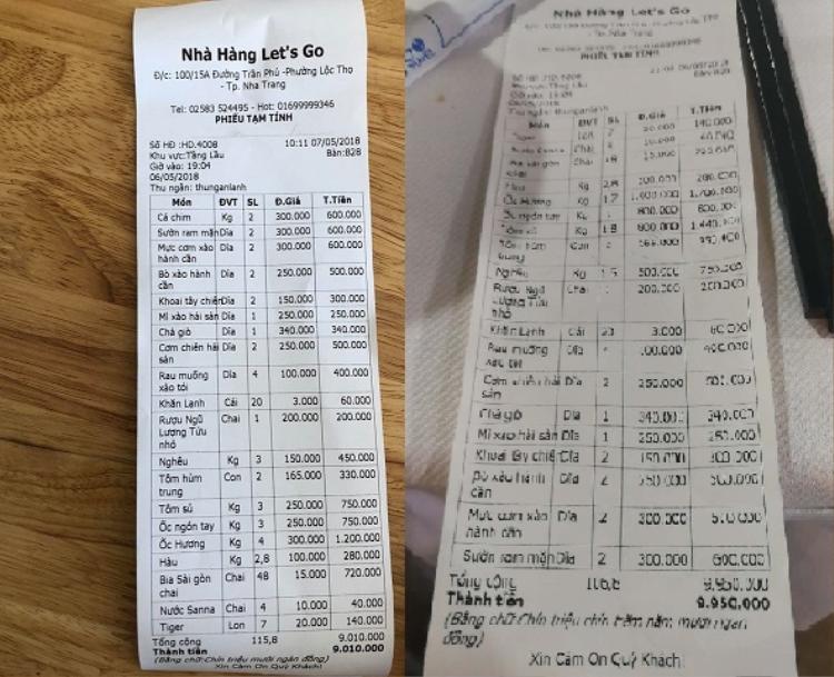 Hai hóa đơn do nhà hàng Les't Go in ra có sự chênh lệch về giá và ngày. Ảnh: báo Khánh Hòa.