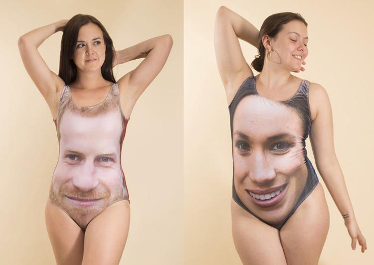 Mùa hè rực lửa đã đến, mẫu áo tắm này chắc chắn sẽ là sản phẩm ưu thích của những người hâm mộ cặp đôi hoàng gia. Tuy nhiên, không thể phủ nhận rằng khuôn mặt của Hoàng tử Harry và công nương tương lai trông khá đáng sợ khi bị bóp méo theo hình dáng người mặc.