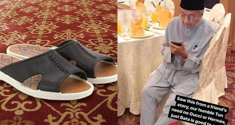 Thủ tướng Malaysia với đôi dép giá 4 USD. Ảnh: Facebook