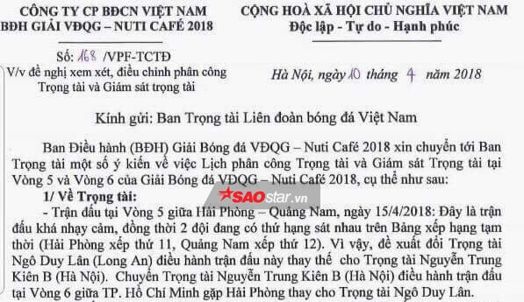 Văn bản của VPF gửi sang Ban trọng tài VFF ngày 10/4.