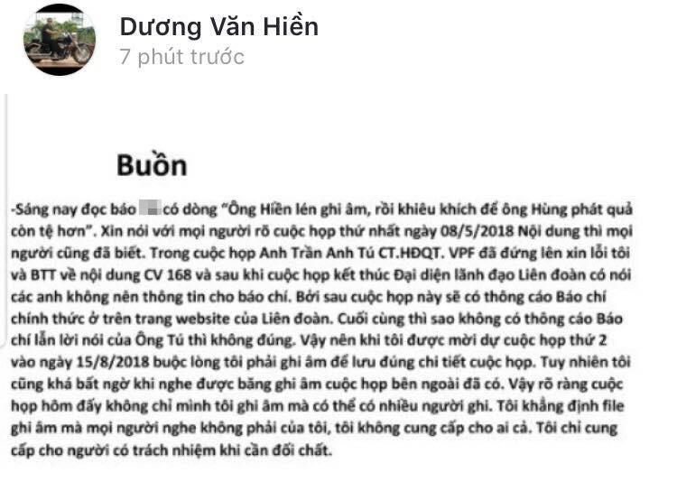 Ông Dương Văn Hiền bày tỏ tâm trạng buồn.