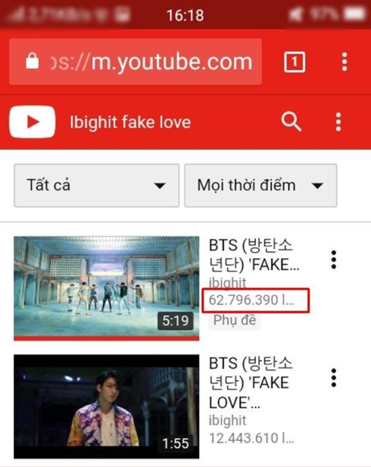 Cùng một thời điểm, khi search MV Fake Love vẫn hiện 62 triệu view…
