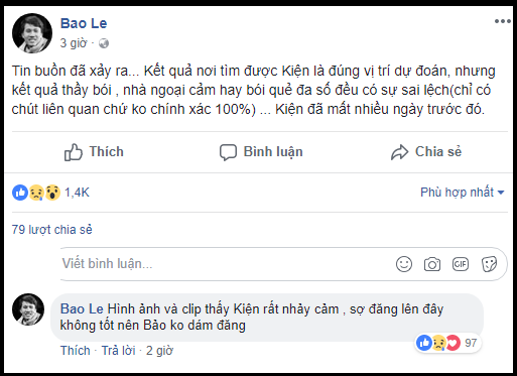 Facebook của Bảo Lê - thành viên 1 đoàn cứu hộ khác cũng đã xác nhận.