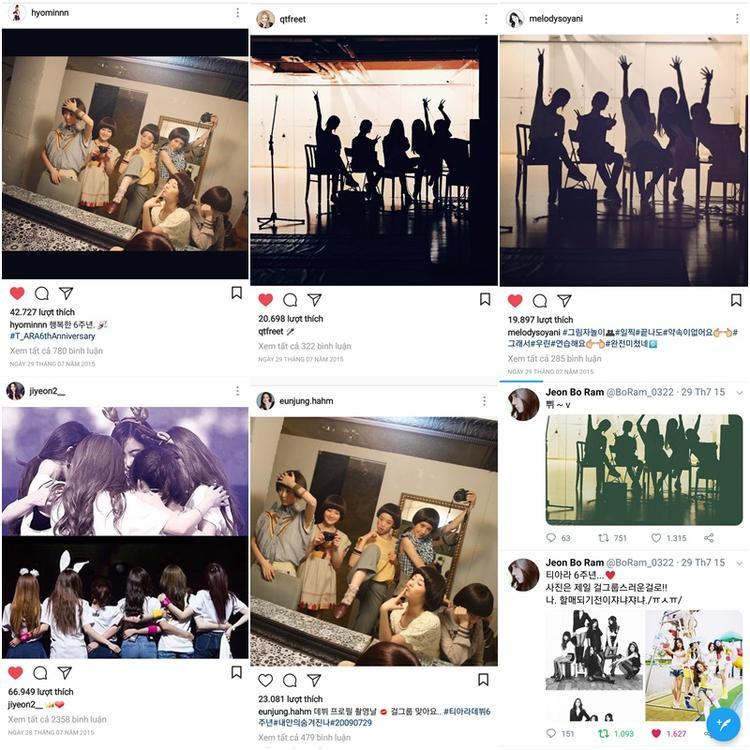 Một phép so sánh nhỏ để thấy T-ara luôn hướng về đội hình 6 người. Nếu như năm 2017, kỉ niệm 8 năm rơi vào thời gian nhóm chỉ có 4 thành viên, các cô gái chỉ đăng hình mang tính biểu tượng như hoa hướng dương, vương miện, bài hát 29072009,… mà không hề đả động tới khoảnh khắc chỉ có 4 người. Còn những năm trước, T-ara kỉ niệm bằng ảnh 6 người cùng vui vẻ với nhau như thế này đây.