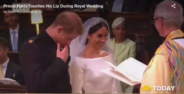 Khoảnh khắc xúc động của Hoàng tử Harry trong ngày cưới. Ảnh cắt từ clip