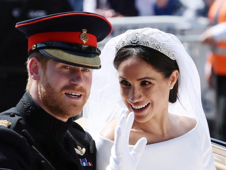 Hoàng tử William và Meghan Markle trong ngày cưới hôm 19/5. Ảnh: AP