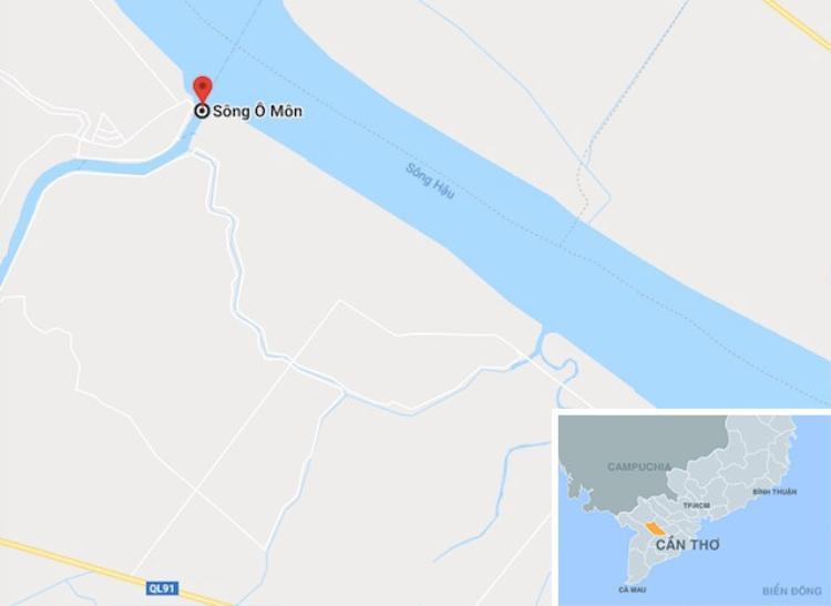 Sông Ô Môn, qua địa bàn Bình Thủy (Cần Thơ) đang xảy ra sạt lở. Ảnh: Google Maps.