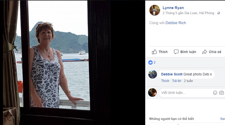 """Hôm 2/5, khi bà Ryan đăng ảnh, vị trí được Facebook định vị là """"Gia Luan, Hai Phong""""."""