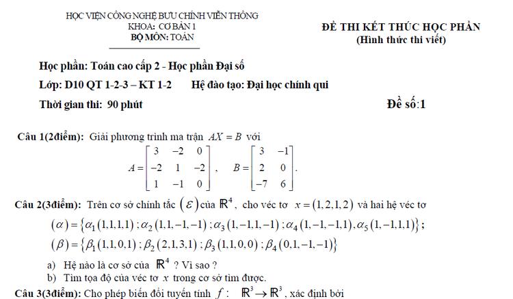 Đề thi toán cao cấp 2 khiến nhiều người chếnh choáng. So với loạt công thức đại số, hình học không gian ở thời phổ thông thì đúng là kinh khủng khiếp hơn nghìn lần. Vậy nên các bạn học sinh đừng nghĩ tốt nghiệp cấp 3 rồi thì sẽ được nói lời tạm biệt với môn Toán nhé!