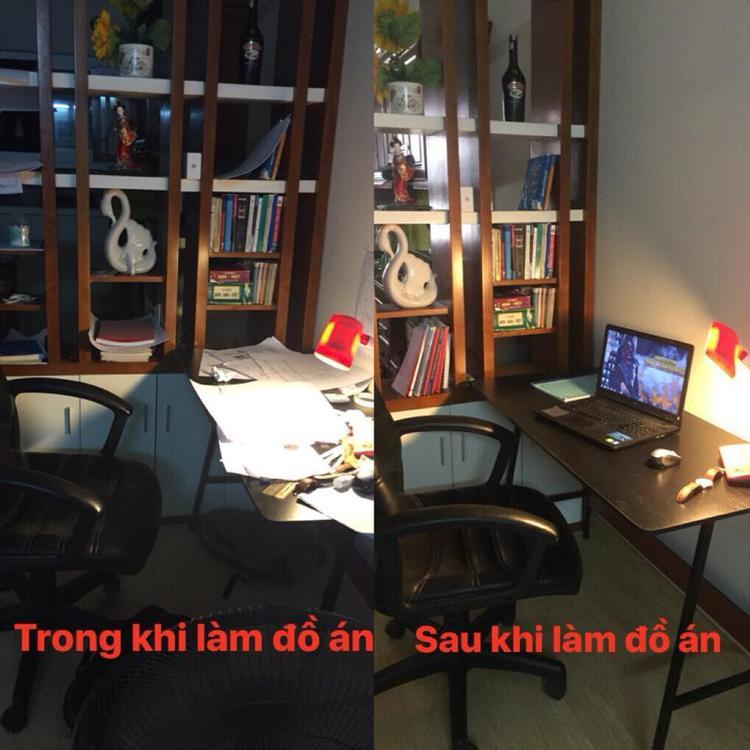Hình ảnh góc học tập của sinh viên kỹ thuật trước và sau khi làm đồ án