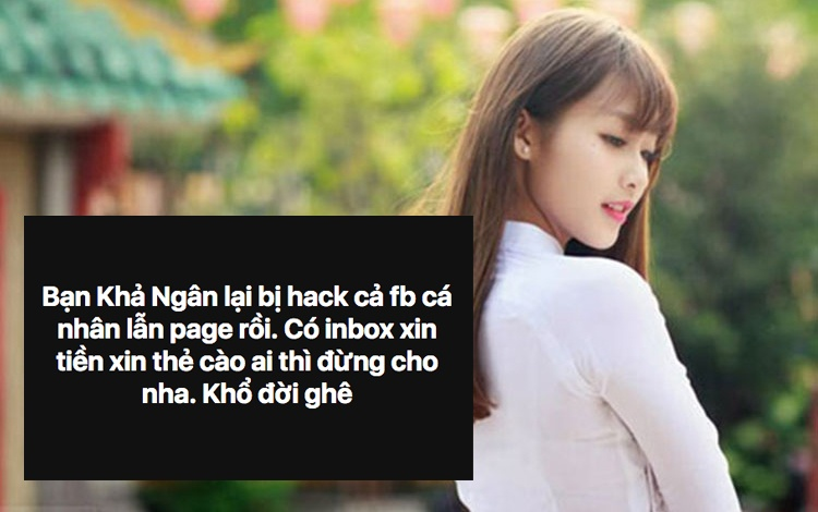 Tài khoản cá nhân của Khả Ngân bị tấn công trong khi đó fanpage của cô hiện tại cũng không truy cập được.