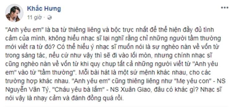 Chia sẻ của Khắc Hưng trên trang cá nhân.