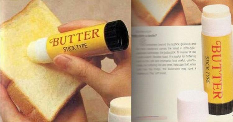 """Đây đích thị là một sự sáng chế tuyệt vời dành cho những người lười ăn sáng, thay vì phải mất quá nhiều thời gian và dụng cụ để quết bơ lên miếng sandwich, họ chỉ cần sử dụng """"cây"""" bơ có hình dáng của một thỏi son môi là xong, quá tiện lợi đúng không nào?"""