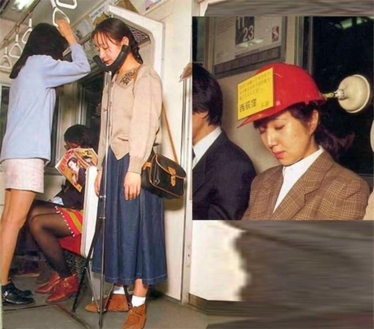 Nhật Bản là đất nước nổi tiếng với năng suất lao động cực cao và người dân ở đây luôn phải làm việc liên tục với cường độ cao. Do vậy, bạn sẽ dễ dàng bắt gặp hình ảnh nhiều người ngủ gà ngủ gật trên tàu điện ngầm. Để giảm bớt sự mệt mỏi, một phát minh mới ra đời giúp những ai đang mệt mỏi vẫn có thể đứng vững trên tàu. Đối với nhiều người thì họ cho rằng đây là một phát minh… vô dụng vì họ chẳng thể mang theo một thứ cồng kềnh mà không có chút thẩm mỹ như vậy khi đi làm được.