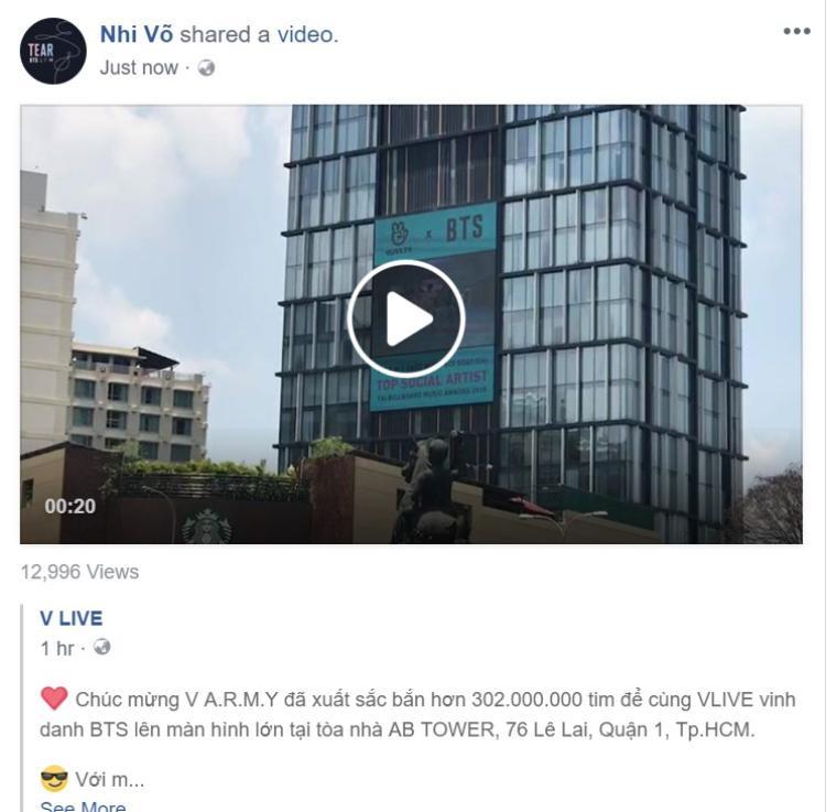 A.R.M.Y Việt Nam chơi sang, đưa hình BTS lên màn hình lớn ở thành phố Hồ Chí Minh