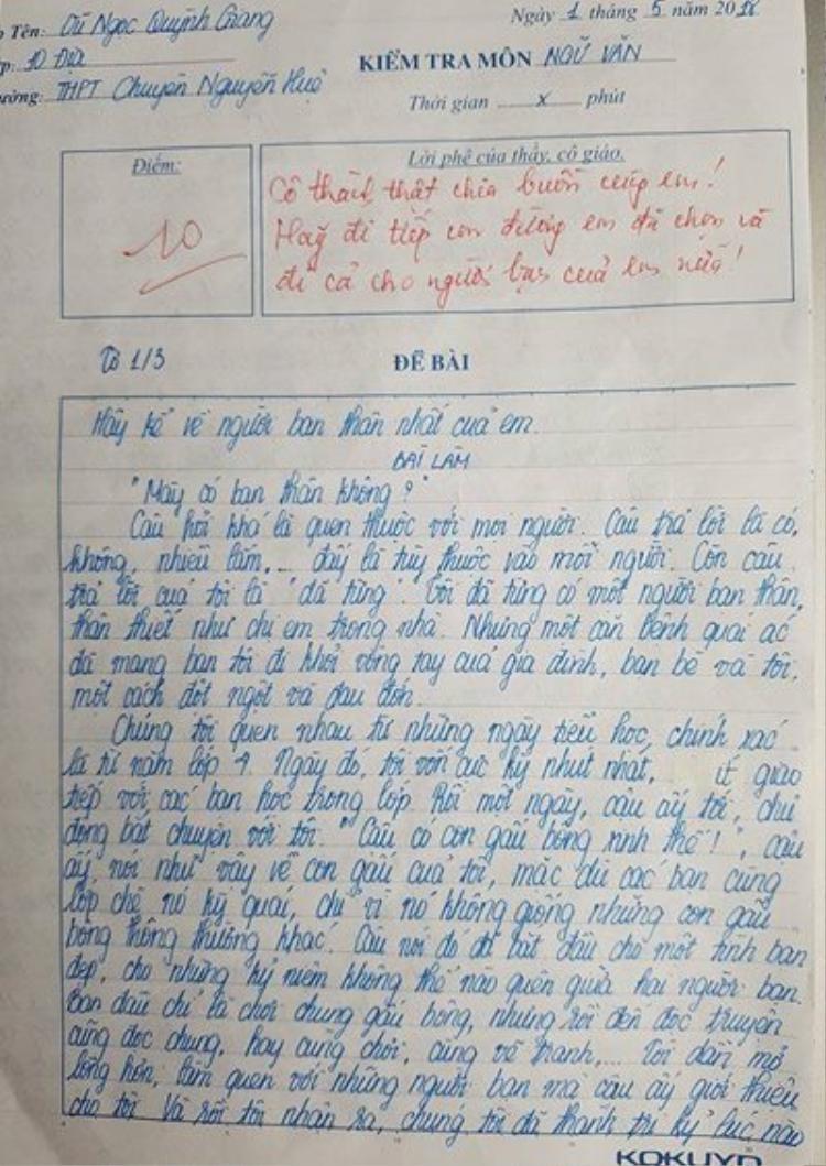 Vũ Ngọc Quỳnh Giang giành được điểm 10 khi em giãi bày nỗi buồn khi mất đi người bạn thân trên giấy.