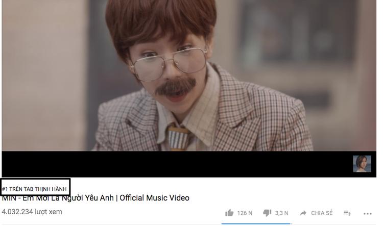 MV của Min vững vàng vị trí Top 1 Trending YouTube.
